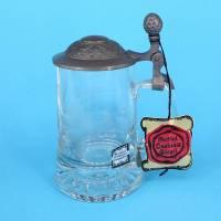 Kristallglas Bierseidel mit besonders schönem Zinndeckel Bild 1