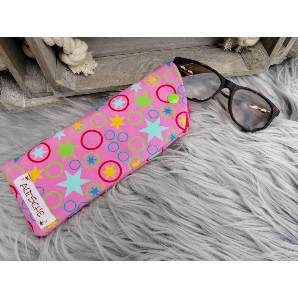 Brillenetui mit Sterne /Kreise Pink Bild 1