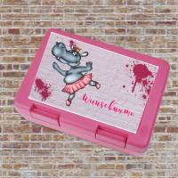 Brotzeitdose / Lunchbox / Brotdose Pink mit Nilpferd Primaballerina, Personalisierbar Bild 1