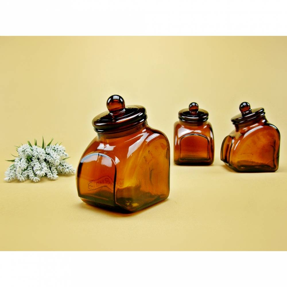 Vorratsbehälter Gewürzbehälter Glas braun Schütte Apothekerglas Bonbonglas Schüttenglas Kräuterdose Teedose Vorratsdose Vintage Bild 1