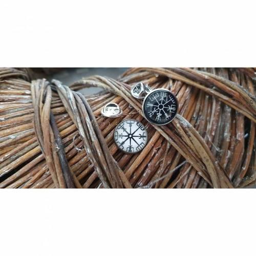 Pins Button Vegvisir Wikinger Kelten schwarz oder weiss Vikings Highlander