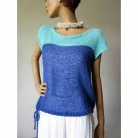 Sommerpullover, blau, mint, gestricktes Top, ärmelloser Pulli, Pullover für Damen, Baumwoll-Top Bild 1