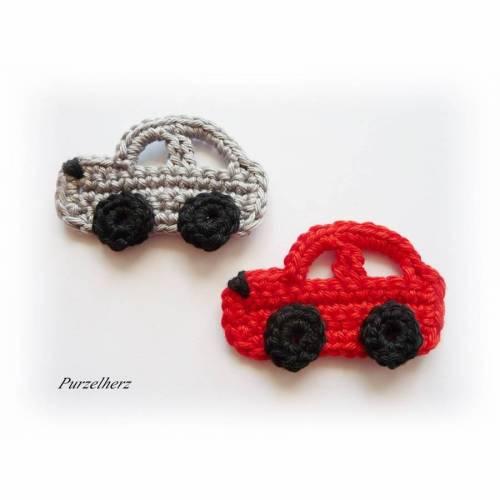 2 gehäkelte Autos - Pkw - PURZELFLITZER - Häkelapplikation - Aufnäher - rot, grau