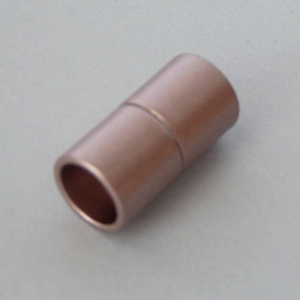 Magnetverschluss Zylinder, Farbe kupfer matt, Bohrung 8 oder 10 mm, für die Schmuckherstellung, zum Einkleben  Bild 1