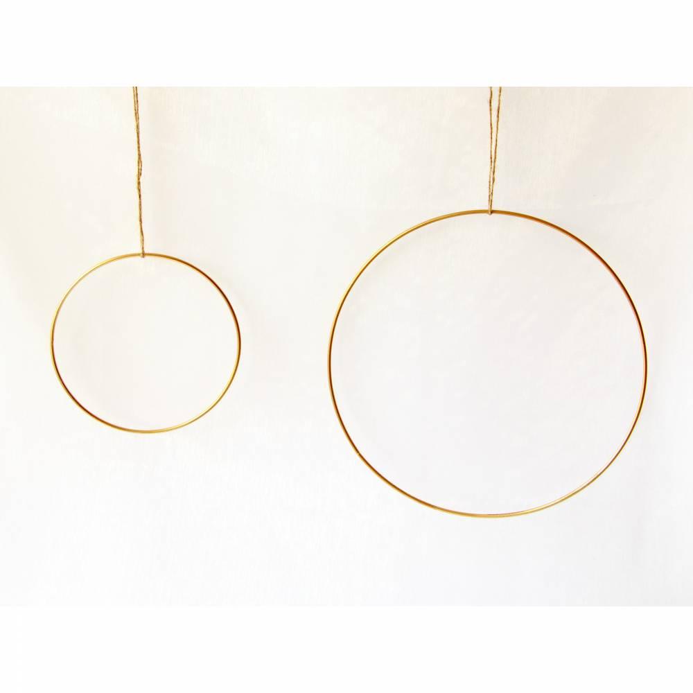 Metallring Gold 15cm (links auf dem Bild) für Boho-Kränze DIY Wandkranz Wanddeko mit Trockenblumen Bild 1