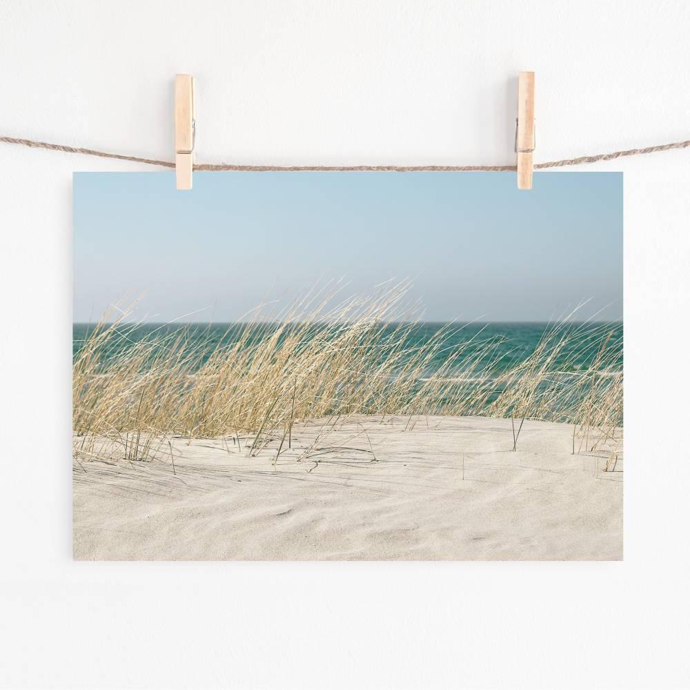 Dünen, Strand und weißer Sand, Fotografie und romantischer Kunstdruck für alle mit Fernweh, Größe DIN A4 Bild 1