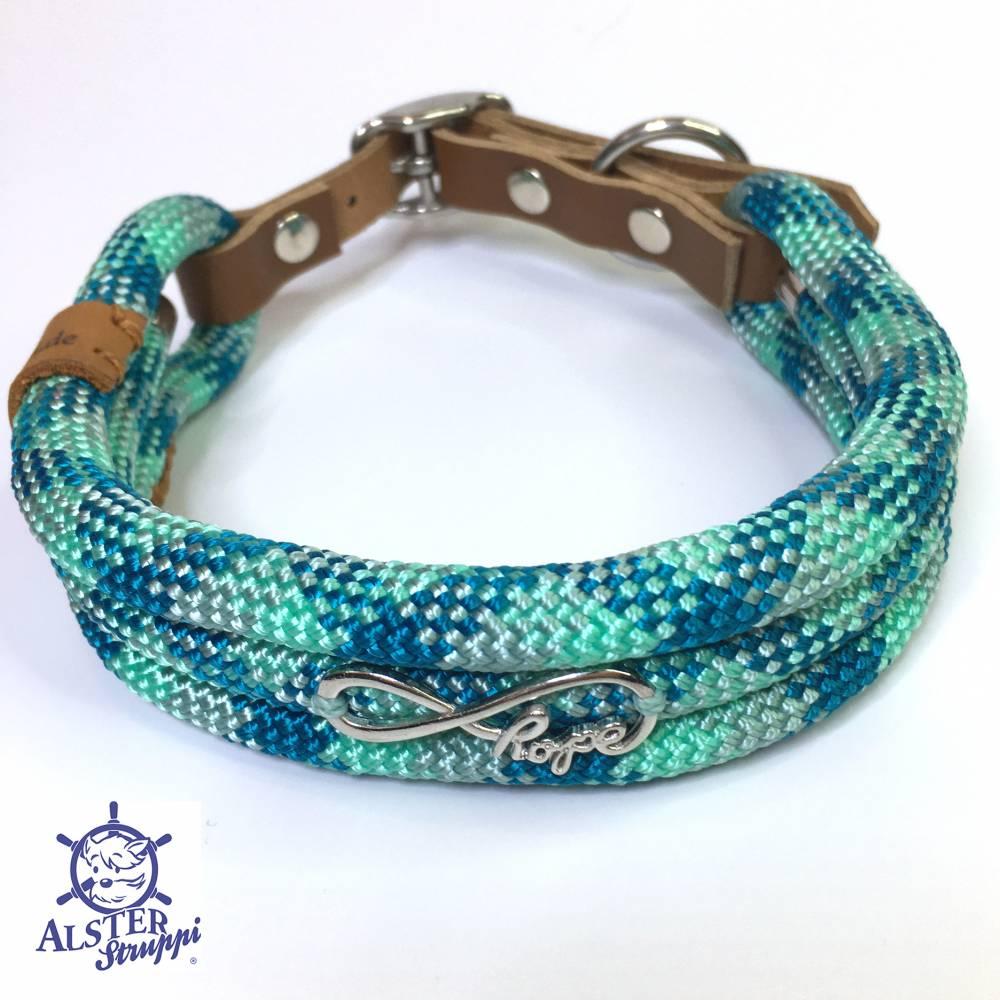 Hundehalsband verstellbar seegrün, mint, blaugrün mit Leder und Schnalle Bild 1
