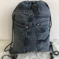Turnbeutel, Rucksack, Tasche, Sportbeutel, Jeans, Upcycling, AichelBag Bild 1