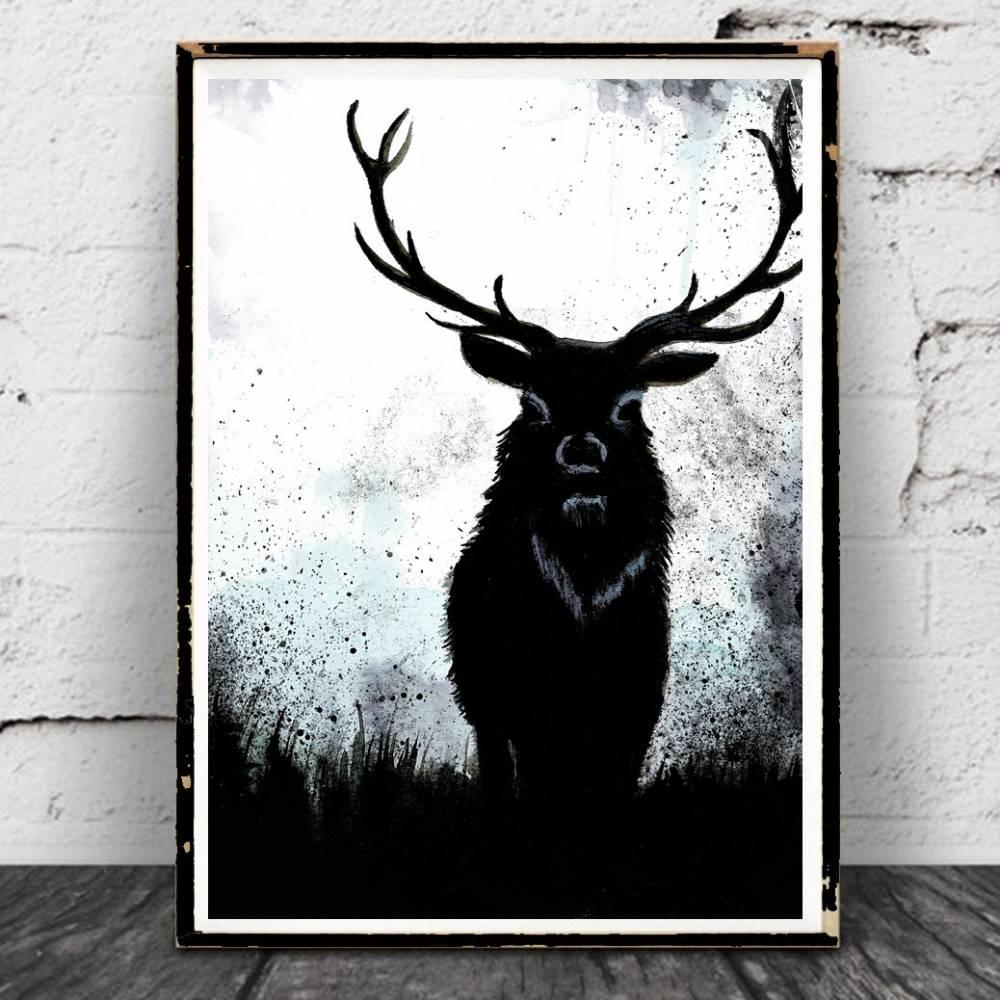 """Hirsch Aquarell Poster- """"Forestwhisperer"""" Print,Elch,Wald,Bild, Hirschposter, Vintage, Natur, Druck, Wanddeko Bild 1"""
