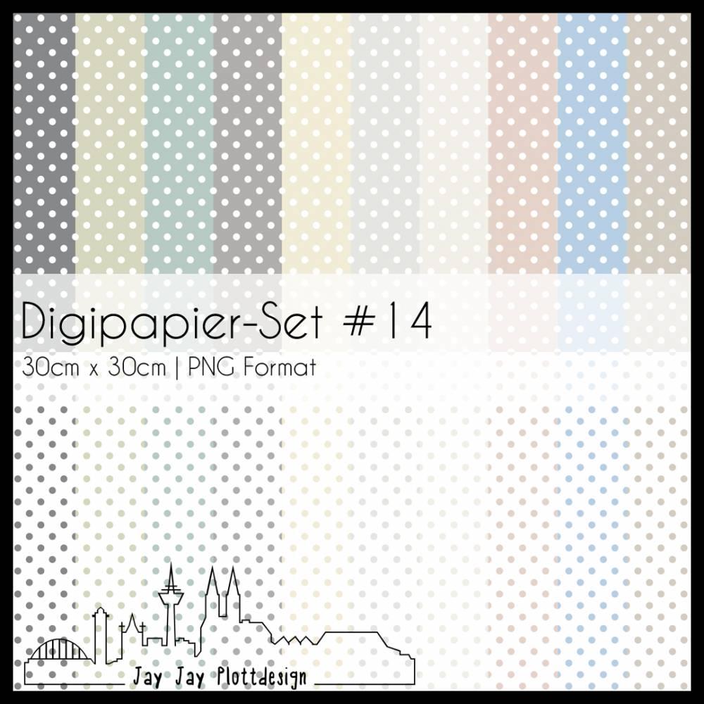 Digipapier Set #14 (Polkadots) zum ausdrucken, plotten, scrappen, basteln und mehr Bild 1