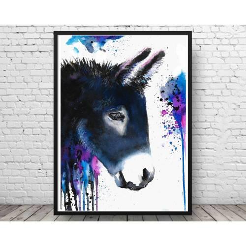 Esel Kunstdruck in Aquarell - Bild - Eselbild - Druck - Muli - Maultier - Donkey - Poster