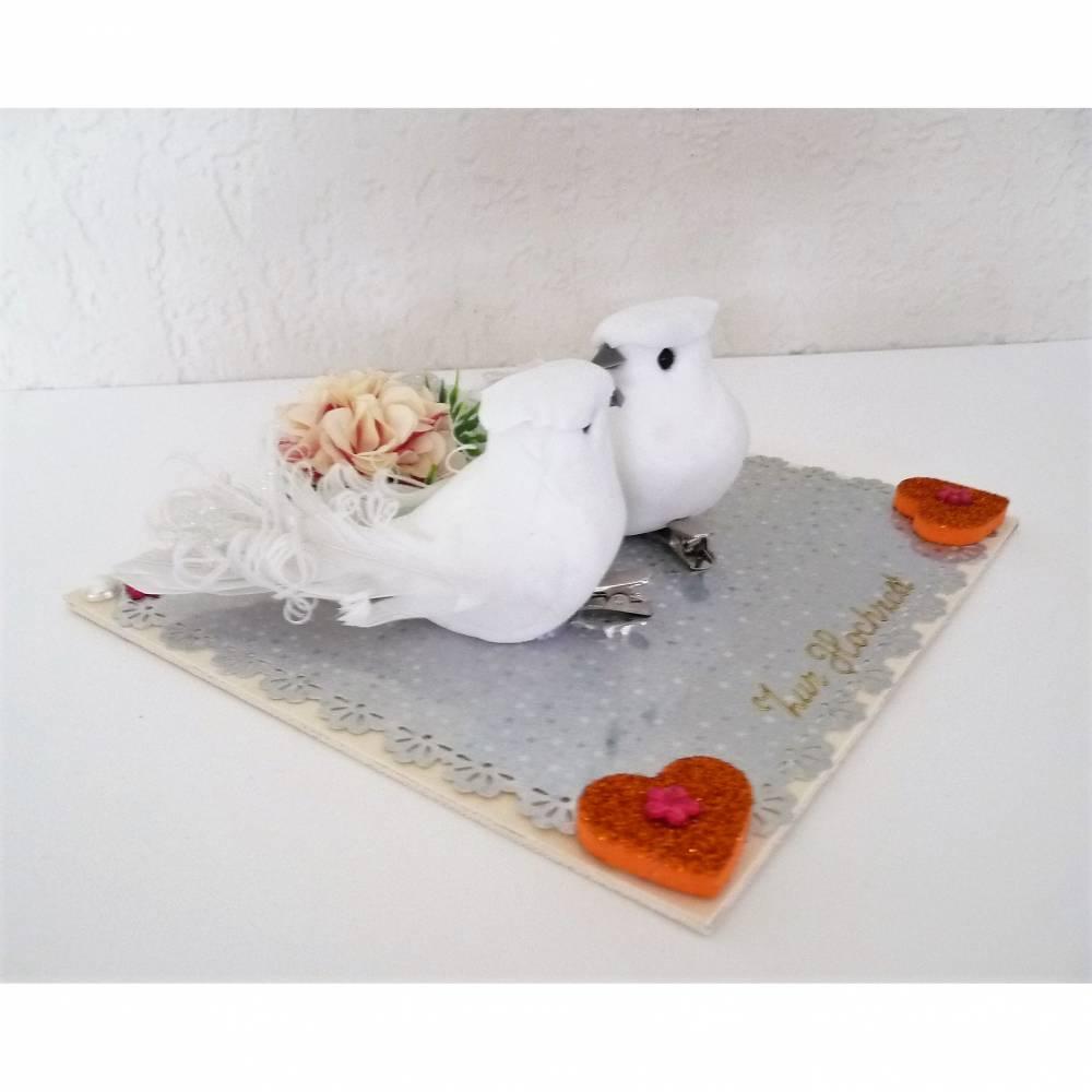 Geldgeschenk zur Hochzeit mit weißen Tauben Herz Geschenkverpackung Hochzeitskarte Bild 1