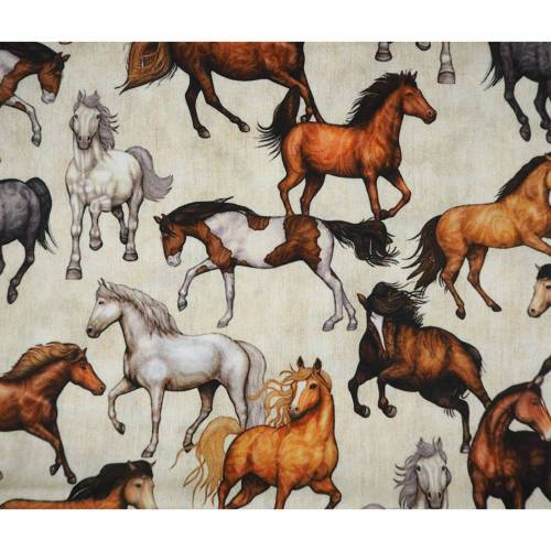 Baumwolle Pferde auf beige meliert, Stoff Meterware, Swafing Kim