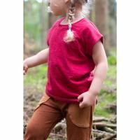 Bio Hanfjersey lockeres Shirt Kurzarm mit rotem Bündchen Bild 1