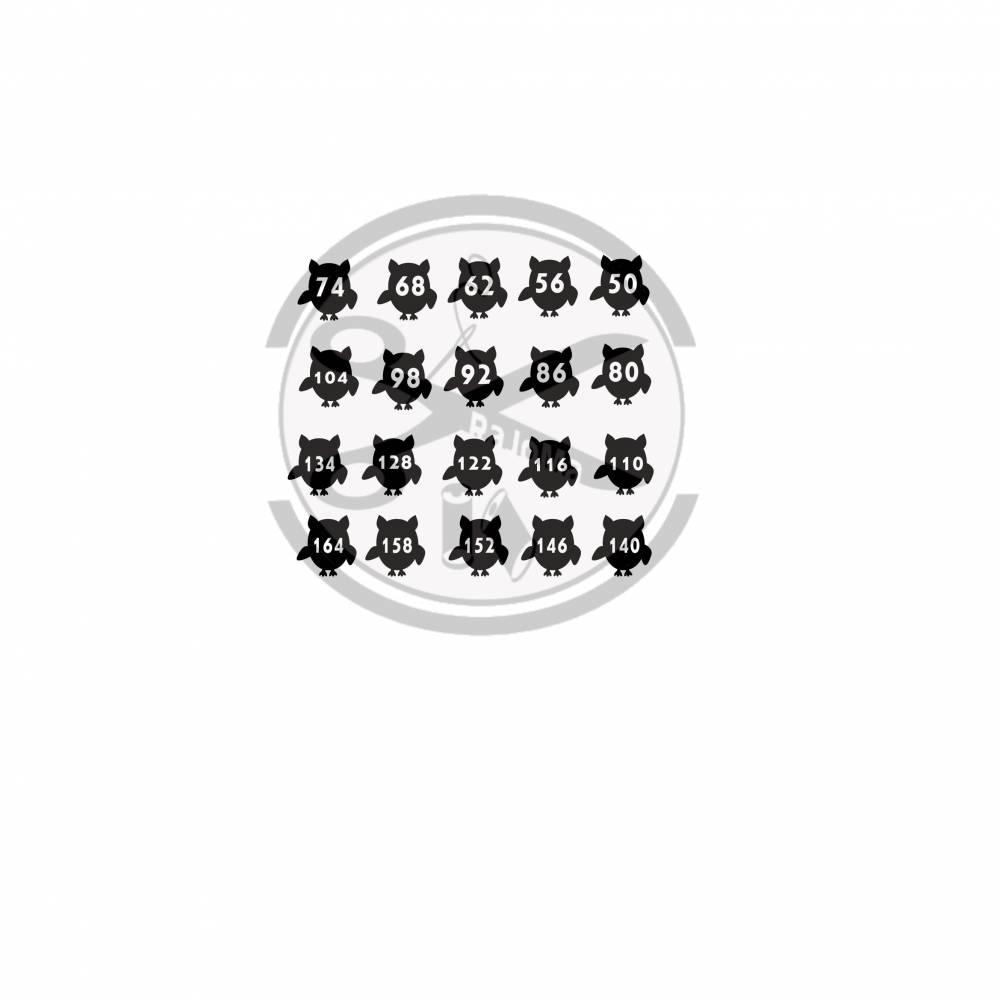 Bügelbild Größen-Label Eule Bild 1