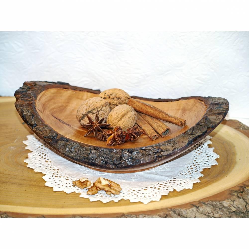 Geschwungene Holzschale mit Naturborke, Obstschale, Dekoschale, Teller, Snackschale, Servierschale Bild 1