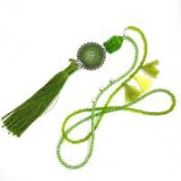 QUASTEN BUDDHA KETTE - grün - mit doppelt gestricktem doubleface Scheiben-Element Bild 1