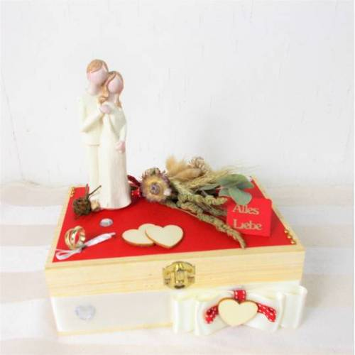 Geldgeschenk Hochzeit, Hochzeitsgeschenk, natur rot, Holzbox mit Brautpaar Figur