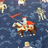 """JERSEY """" Ritterspiele """" von Katinoh, auf blau bunt graue Ritter, Pferde limitierte Auflage Jungs Mädchen Kinderstoff Baumwolljerseystoff Bild 1"""
