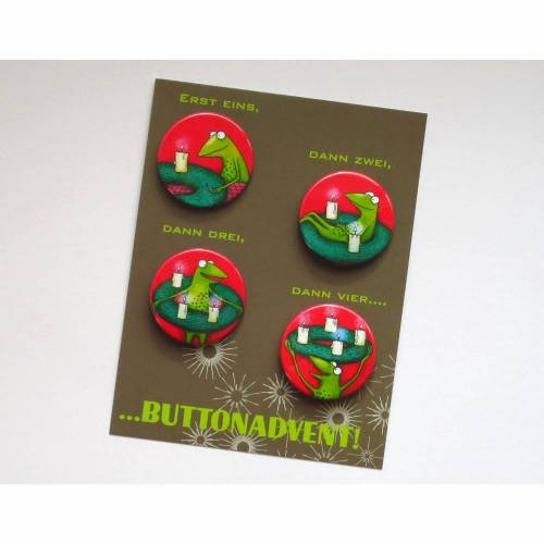 Button-Advent, 4 Buttons für die Adventszeit, Advent, lustiger Adventkranz, witziger Adventkalender, Weihnachten, Anstecker Advent,