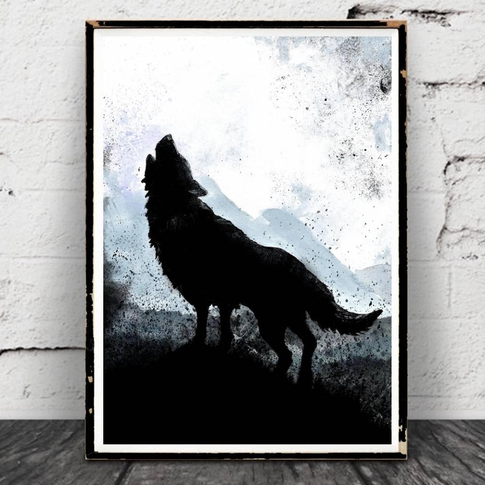 "Wolf und Berge Aquarell Poster ""The Calling"", Print,Natur, Bild, Druck, Wolfposter Bild 1"