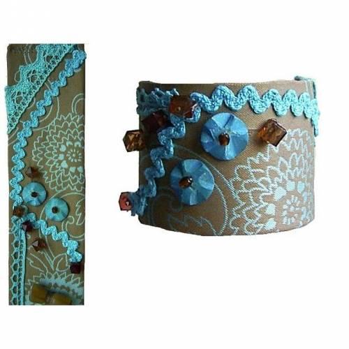 Armband braun türkis, Größe S, boho Stoffarmband