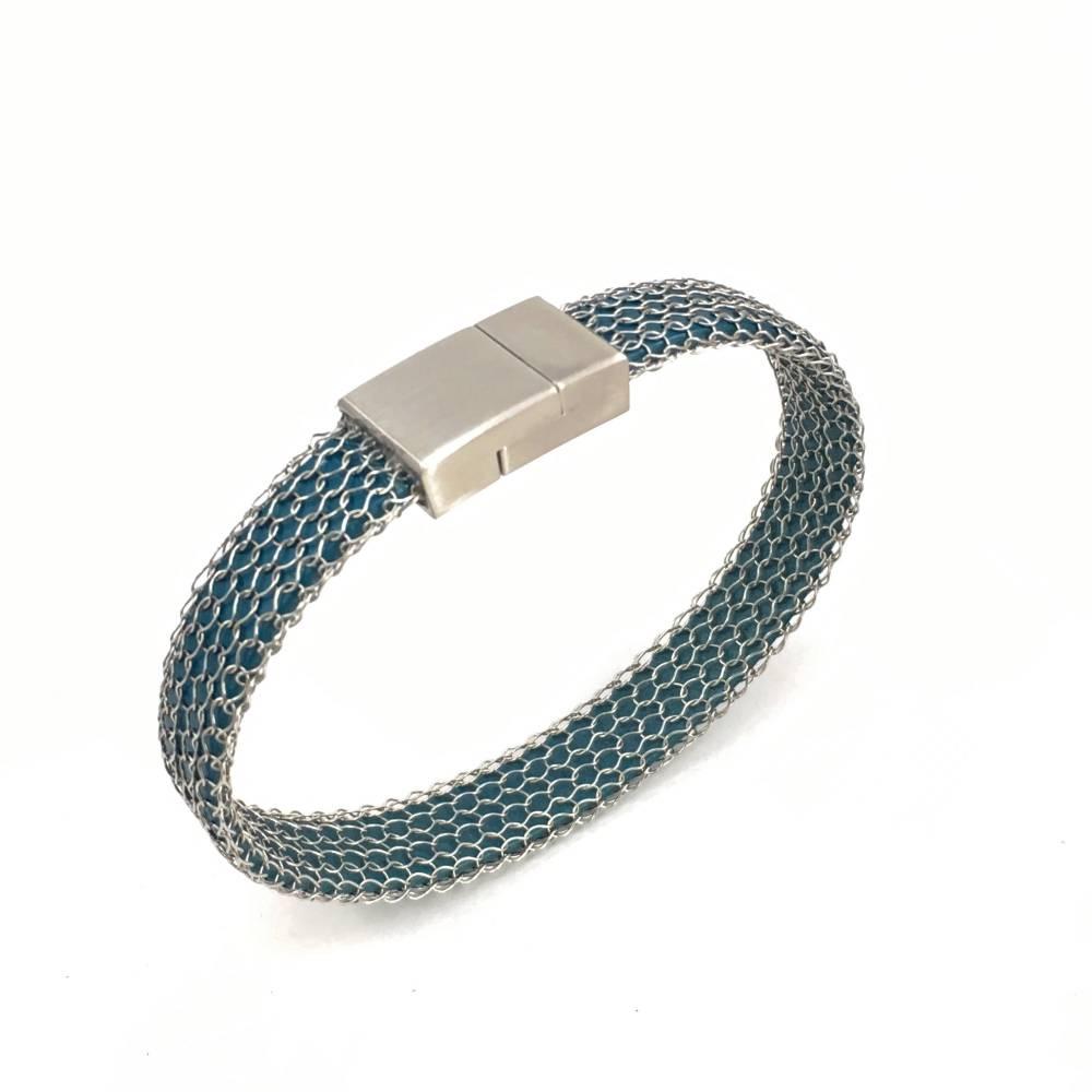 UNISEX! gestricktes EDELLSTAHL ARMBAND mit matter Magnetschließe und petrolfarbenem Lederband - Farbwahl! Bild 1