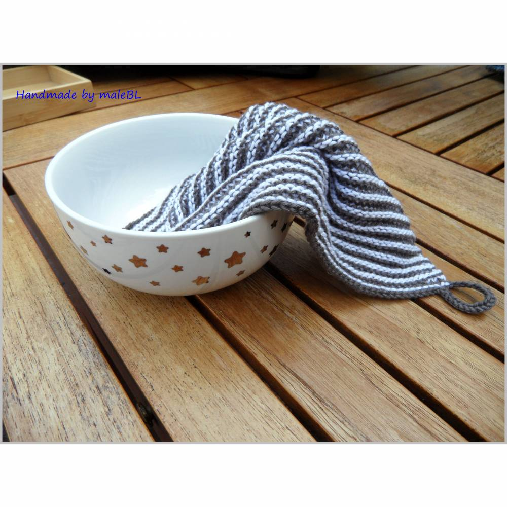 2 Spültücher, Spüllappen handgestrickt Baumwolle, 60 Grad waschbar Bild 1