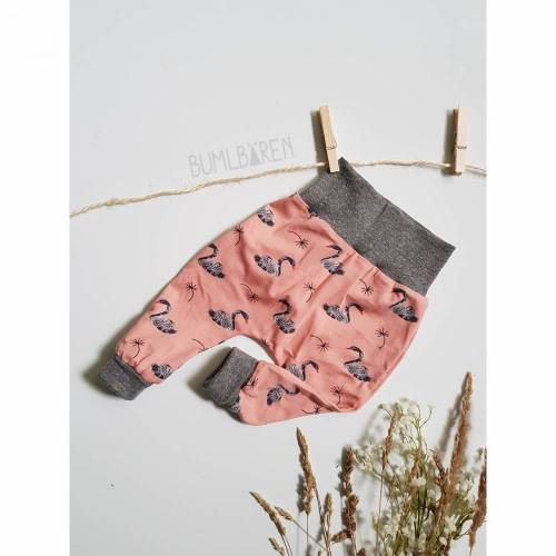 Baby-Pumphose 68 74 Jersey Schwan Rosa Bündchen Grau