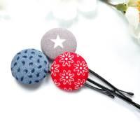 3er-Set Haarklammern Haarnadeln Blümchen Stern rot grau blau Geschenk Mitbringsel Bild 1