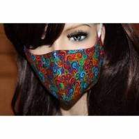 Gesichtsmaske/ MundNasenMaske/ Baumwolle/ 2-lagig/ waschbar 60 Grad/ Behelfsmaske/ Mundbedeckung/ Nasendraht * BUNT III *