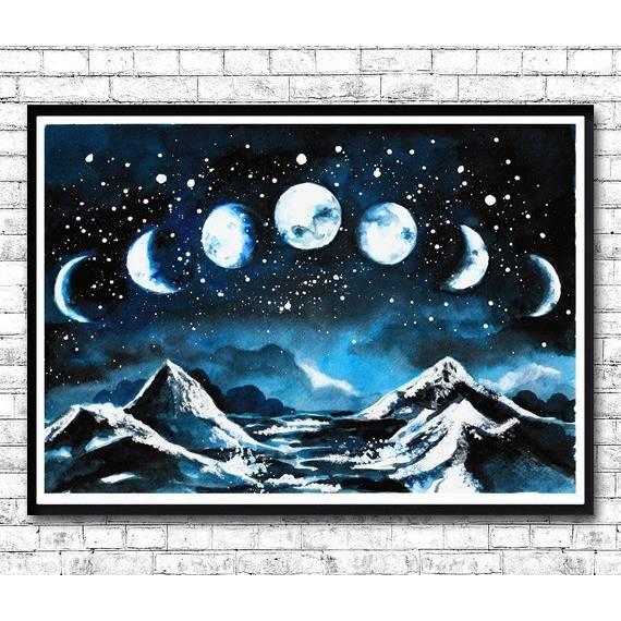 Mondphasen Poster, Aquarell, Bild, Print , Abstrakt, Galaxy, Witchcraft, Berge, Mond, Gemälde Himmel Bild 1