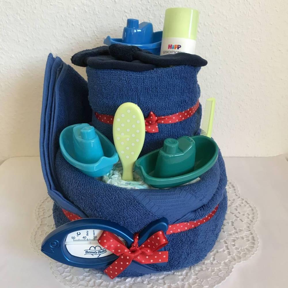 Windeltorte Badespaß Junge zum Baden Boote Schiffe maritim blau grün Punkte Geburt Taufe Bild 1