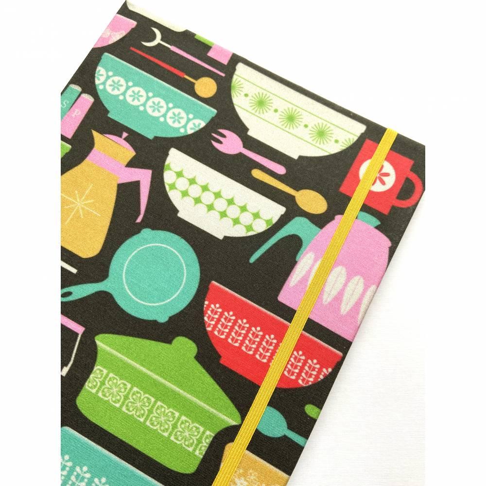 """Notizbuch Rezeptbuch """"Favourite Recepies"""" ähnlich A5 17,5 x 23 cm Hardcover stoffbezogen Stoff Retro Küche Kochen Hobbykoch Rezepte Geschenk Geschenkidee Bild 1"""