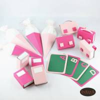 Tischdeko zur Einschulung 16 Teile Set Schulanfang Tafel Ranzen Buch Heft Tüte Rosa Pink