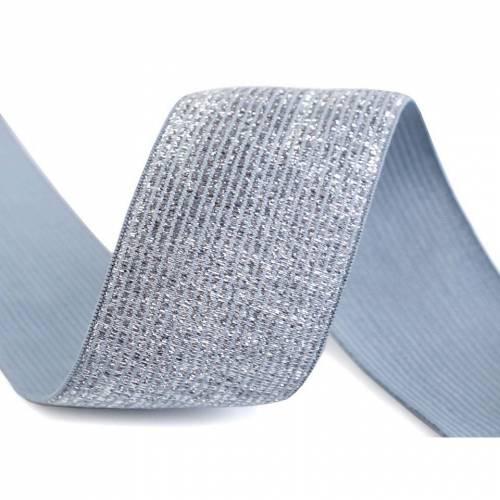 1 m Gummiband Taillenband  Breite 40mm Grau mit Lurex (1m/2,00 €)