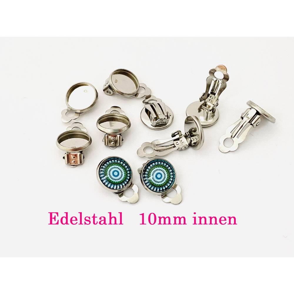 10 x Edelstahl Ohrclips für 10mm Cabochon Clipse Ohrclipse Ohrring ohne Loch kein Ohrloch (CL16) Bild 1