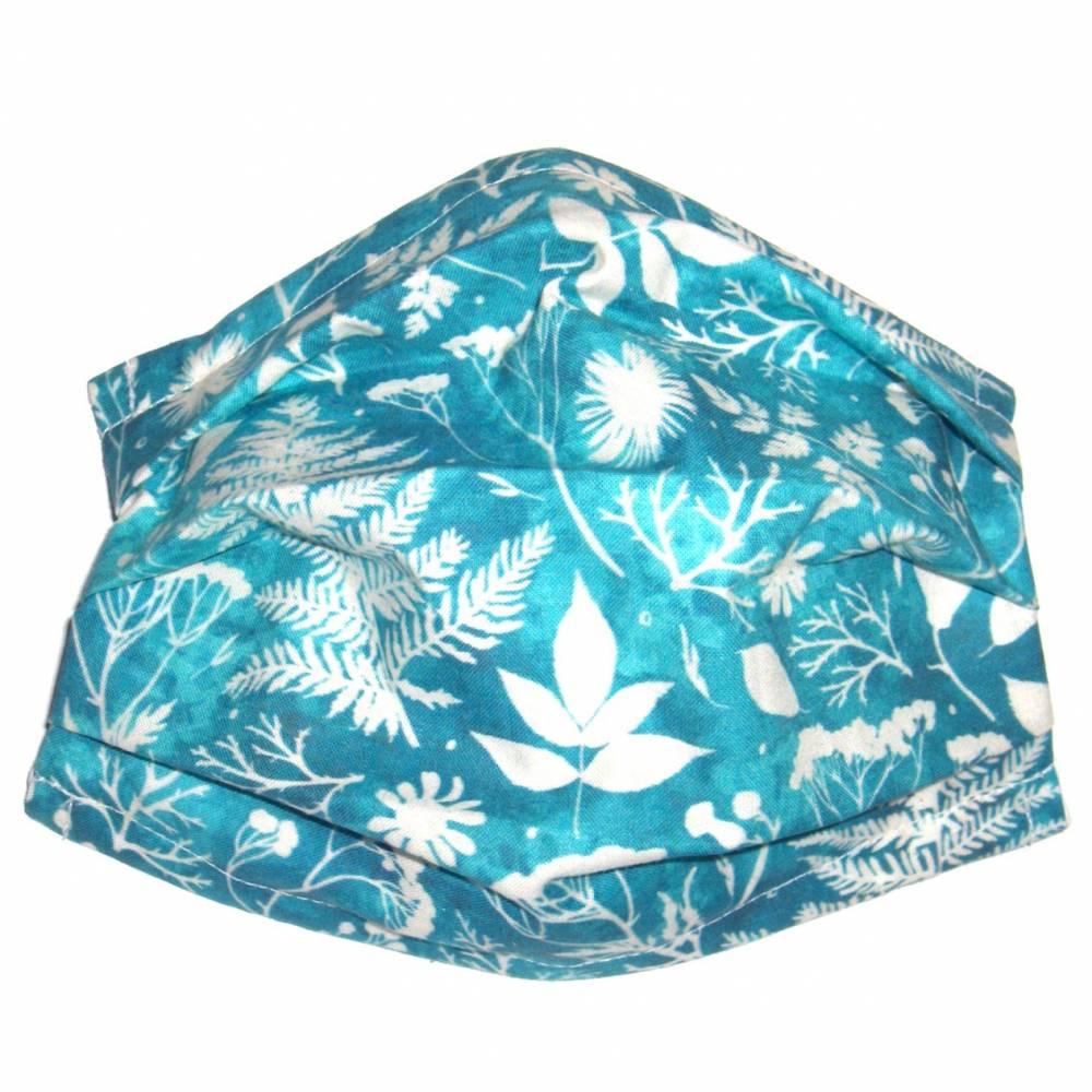 """MuNaske - Behelfs-Mund-Nase-Maske """"Blätter"""", Größe M, genäht aus Baumwollstoff, mit Nasenbügel - Waschbar - Behelfsmaske - Alltagsmaske Bild 1"""