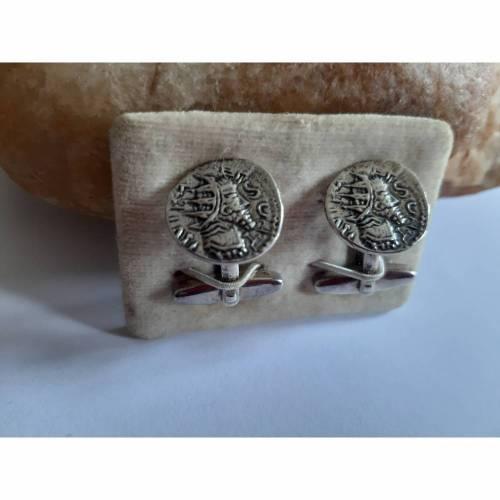Ausgefallene vintage Manschettenknöpfe aus Silber
