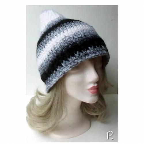 Wintermütze; Beaniemütze; Zipfelmütze; Slouch / UNISEX / schwarz-grau-weiß Farbverlauf / Gr.: M - L