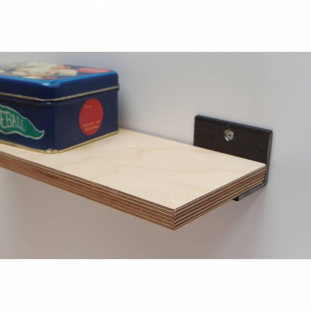 Regal aus Birke Multiplex und Stahl - 40 cm - Holz - industrial  - rustikal- Wandregal - handgefertigt  - individualisierbar Bild 1