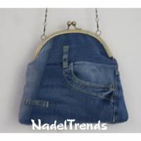 Jeanstasche mit messigfarbenem Bügel / Handtasche / Clipverschluß / Umhängetasche / Damentasche Bild 1