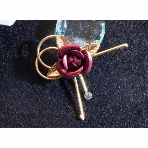 Vintage Brosche Rose aus den 50er, 60er Jahren, goldfarben, rot,  alte Brosche, Vintage Hochzeit, fifties, sixties,  Trödel Dings da