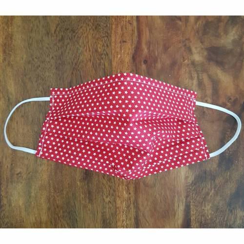 Kinder/ Erwachsene, Rot mit Sternchen, Gesichtsmaske, Behelfsmaske, Alltagsmaske, Communitymaske, Stoffmaske, Behelfs-Mund-Nase-Maske, Maske mit Nasenbügel für Mund und Nase