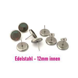 10 x hochwertige Edelstahl Ohrsteckerrohlinge für 12mm Cabochon (OS37) Bild 1