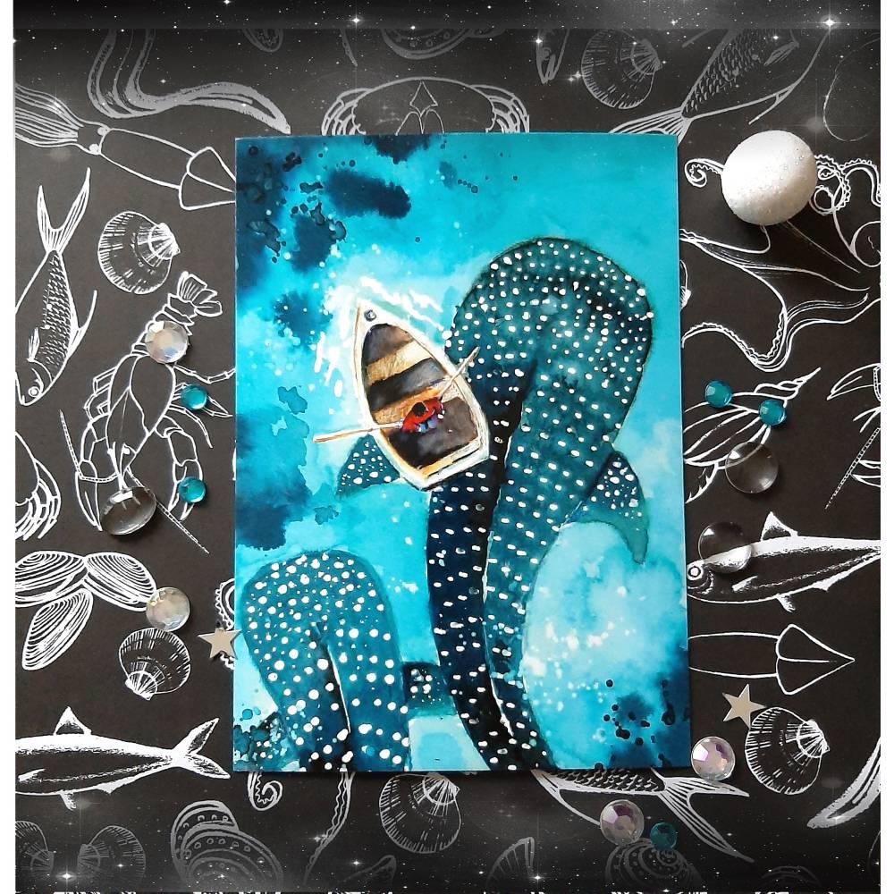 Wal Postkarte -  Walhaie - Aquarell - Grußkarte - handgemalt - Haie Kunst - Kunstkarte - Geburt - Taufkarte Bild 1