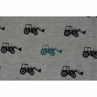 Jersey grau mit Traktor Trekker Baumwolle 50 cm x 150 cm Nähen Stoff Bild 1