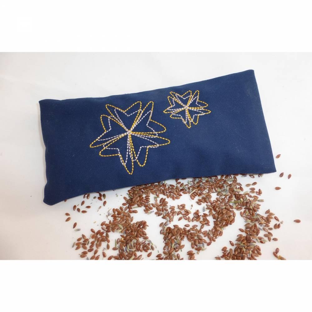 1 Stück Augenkissen Yoga, Ornamente, abnehmbarer Bezug, waschbar, dunkelblau, Farbauswahl, mit Leinsamen und Lavendel, bestickt, Meditation, Entspannung, Dieda Bild 1