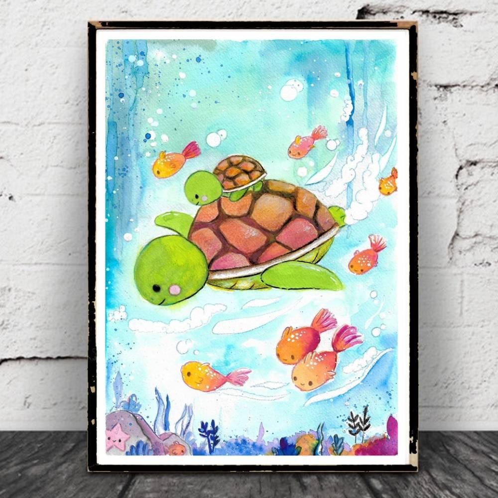 Schildkröten Aquarell Poster, kawaii Bild, Print, Druck, Geschwister - Freunde - Taufgeschenk Bild 1