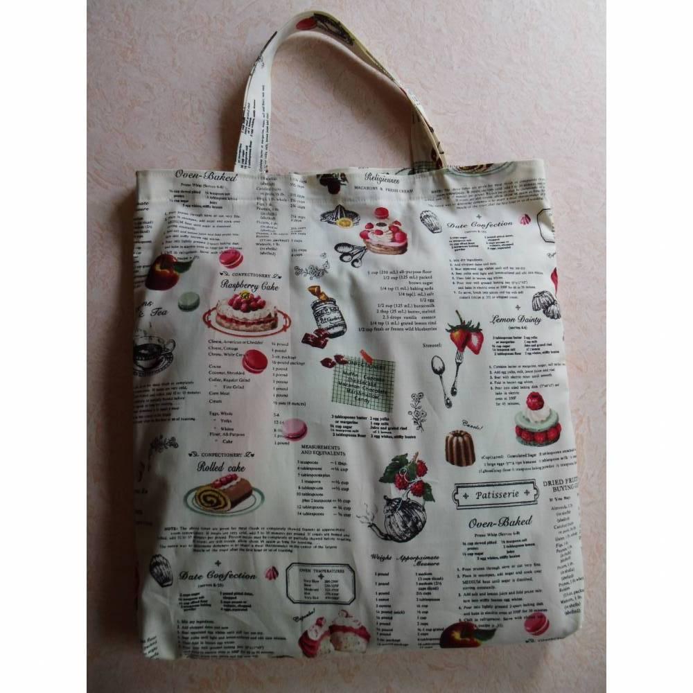 Stofftasche, Einkaufstasche, Shopper, Stoffbeutel, mit Kuchenrezepten Bild 1